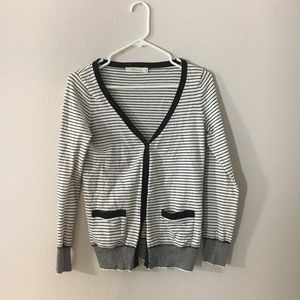 Cute forever 21 Black white striped cardigan small